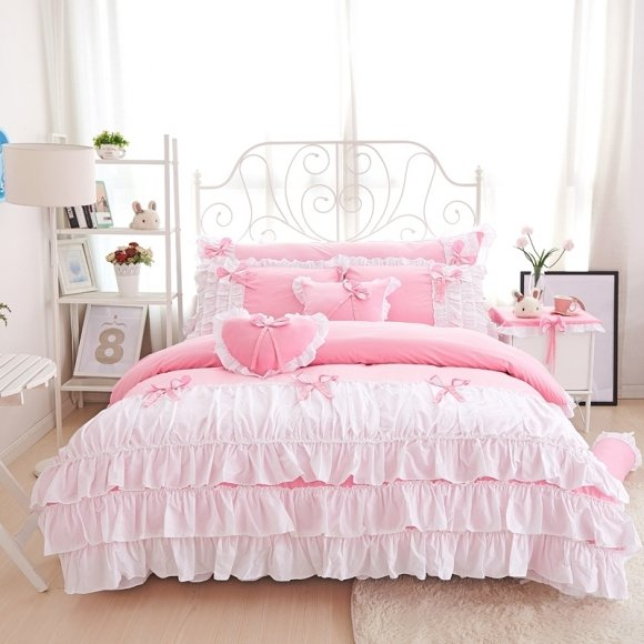 Hipster Blush Pink And White Unusual Waterfall Frilly