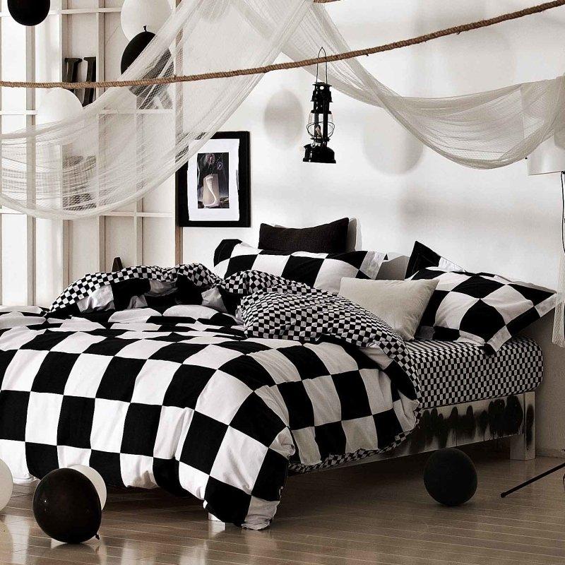 Trendy Black And White Checd Plaid, Trendy Bedding Sets