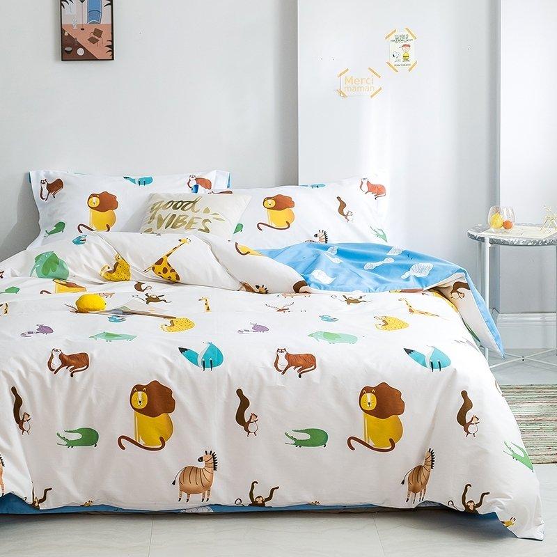 Kids Teen Boys Children Cute Zoo Animal, Queen Size Teenage Bedding