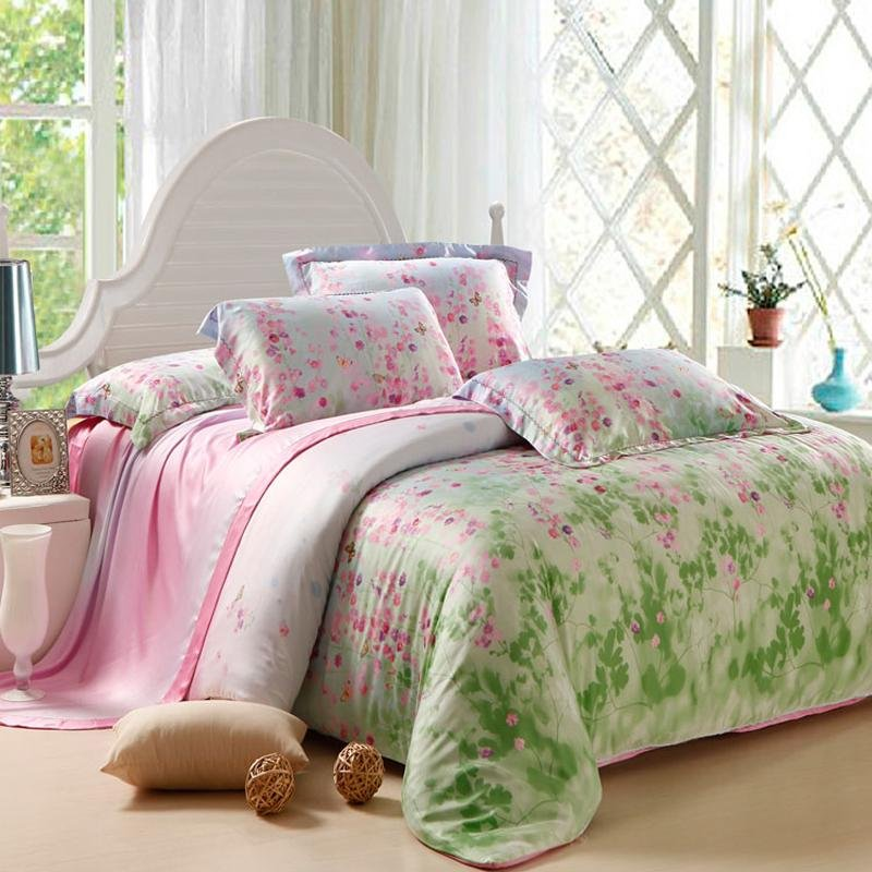 Girly Girls Lime Green And Shiny Pink Fairy Garden Images Country Floral Print Soft Tencel