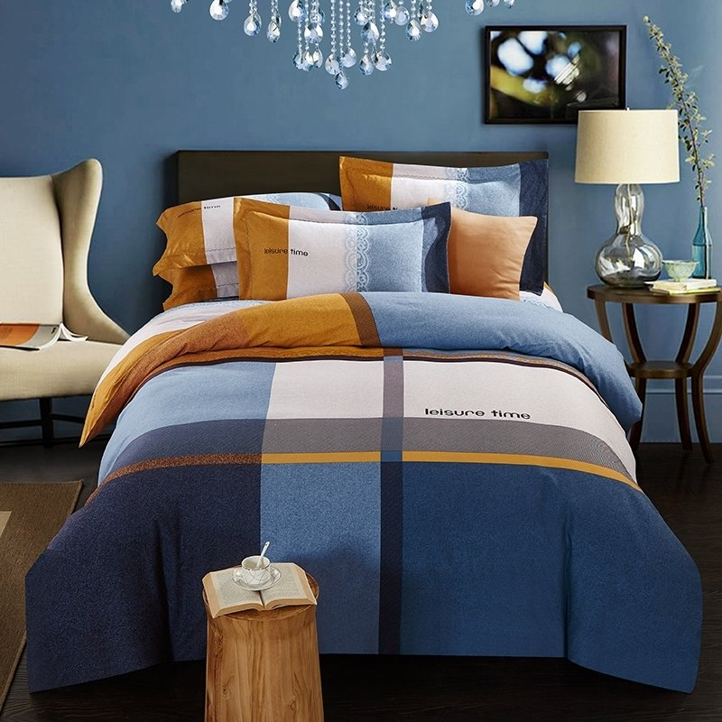 Chic Blue Beige Cotton Linen Plaid Curtains For Boys Bedroom: Simply Chic Deep Blue Grey Orange And White Patchwork