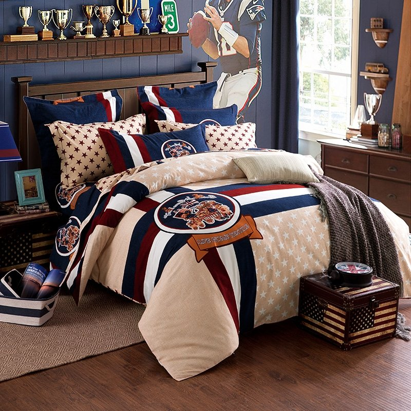 Blue Beige White Striped Boys Bedding Bed Linen Or: Navy Blue Beige White And Dark Red Native American Style