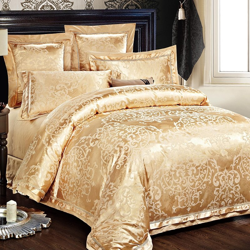 Classic Sparkle Metallic Gold And Cream, Luxury Cream And Gold Bedding