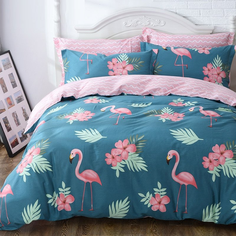 Blue Green And Pink Flamingo Print Animal Themed French