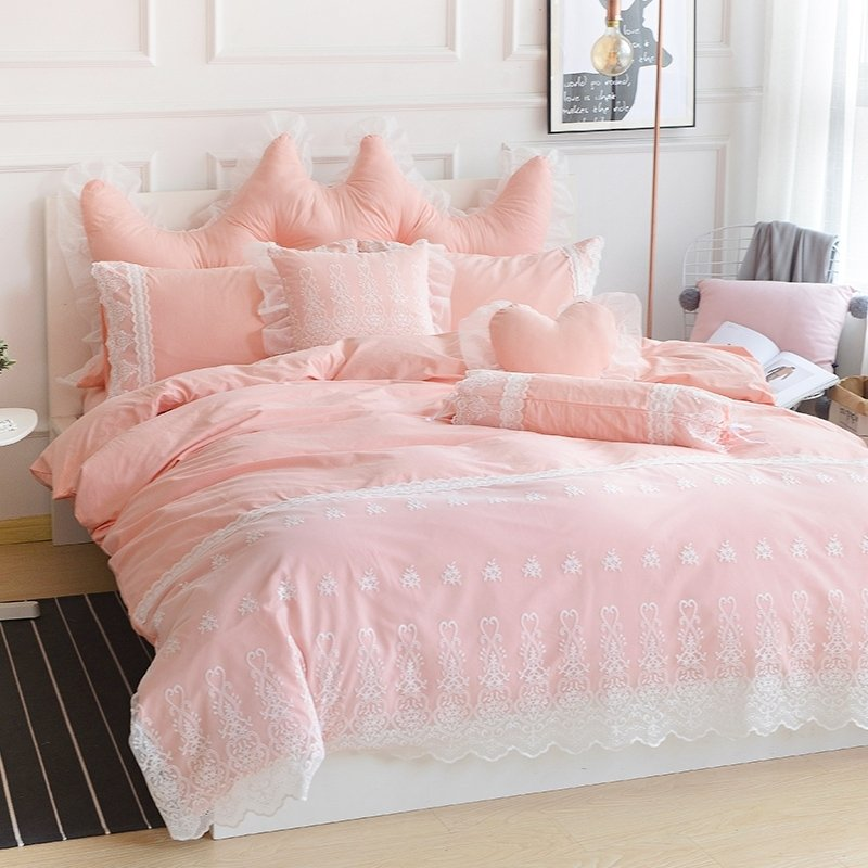 Romantic Lace Design C Pink And, Pink Bedding Full Size