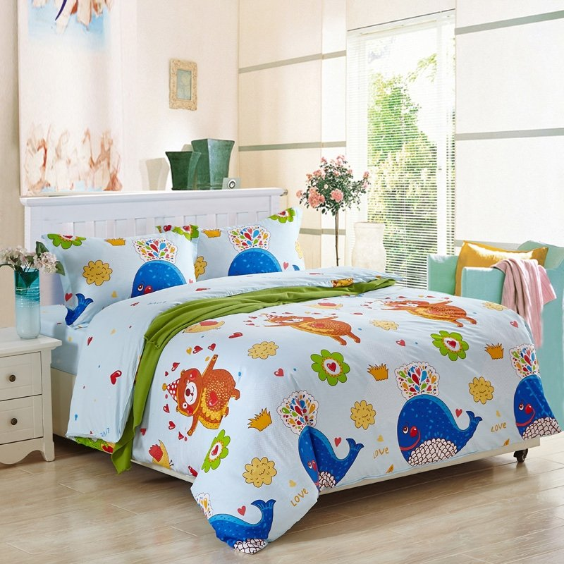 kids animal bear and whale print 100 cotton twin full size bedding sets. Black Bedroom Furniture Sets. Home Design Ideas