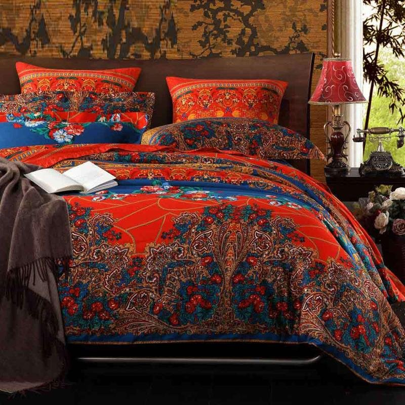 Orange Red Brown And Peacock Blue Vintage Bohemian Style