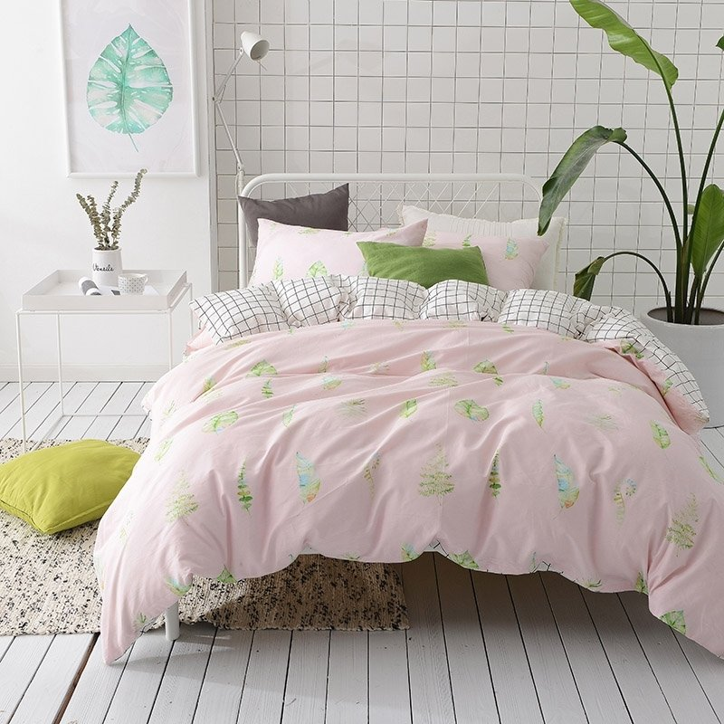 Lime Green And Pink Bedding: Blush Pink Yellow Blue And Lime Green Leaf Print Tropical