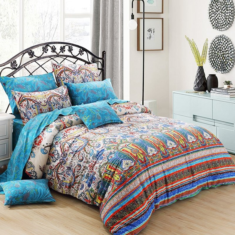 turquoise red yellow and beige indian moroccan pattern vintage bohemian style 100 cotton full. Black Bedroom Furniture Sets. Home Design Ideas