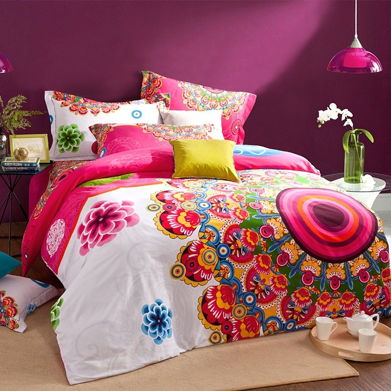 8 Bohemian Chic Teen Girl S Bedroom Ideas: Bright Colorful Hot Pink White Green Blue And Gold