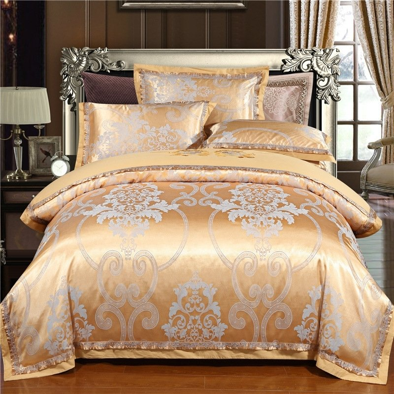 Silver And Gold Indian Inspired Ethnic Modern Bohemian Style Le Excellence Full Queen Size Bedding Sets