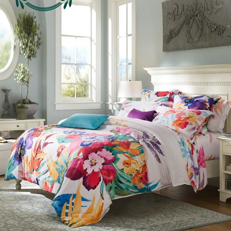 carmine red gold teal purple and off white tropical hawaiian colorful hibiscus floral print. Black Bedroom Furniture Sets. Home Design Ideas