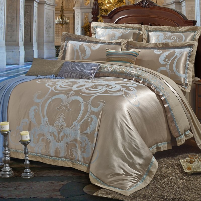 Gray And Light Blue Victorian Gothic Pattern Western Style Shabby Chic Luxury Jacquard Satin Full Queen Size Bedding Sets