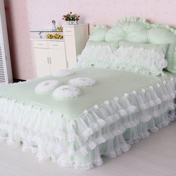 Sophisticated Elegant Mint Green White Applique Flower