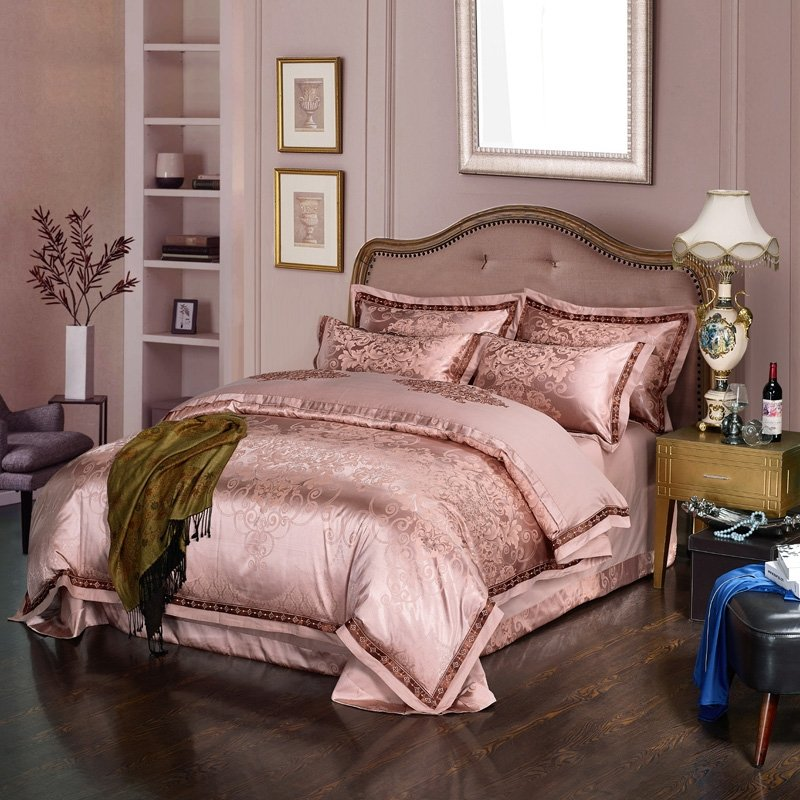 Fancy Rose Gold Victorian Gothic Style Indian Inspired Sophisticated Embroidered Satin Full Queen Size Bedding Sets