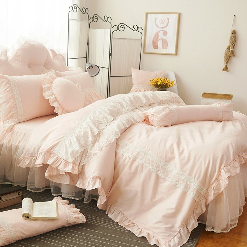 light pink and white vintage victorian lace attached dust ruffle elegant romantic girls princess. Black Bedroom Furniture Sets. Home Design Ideas