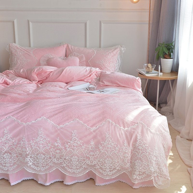 Pink Bohemian Tribal Vintage Shabby Chic Victorian Lace Attached Dust Ruffle Elegant S Soft Flannel Full Queen Size Bedding Sets