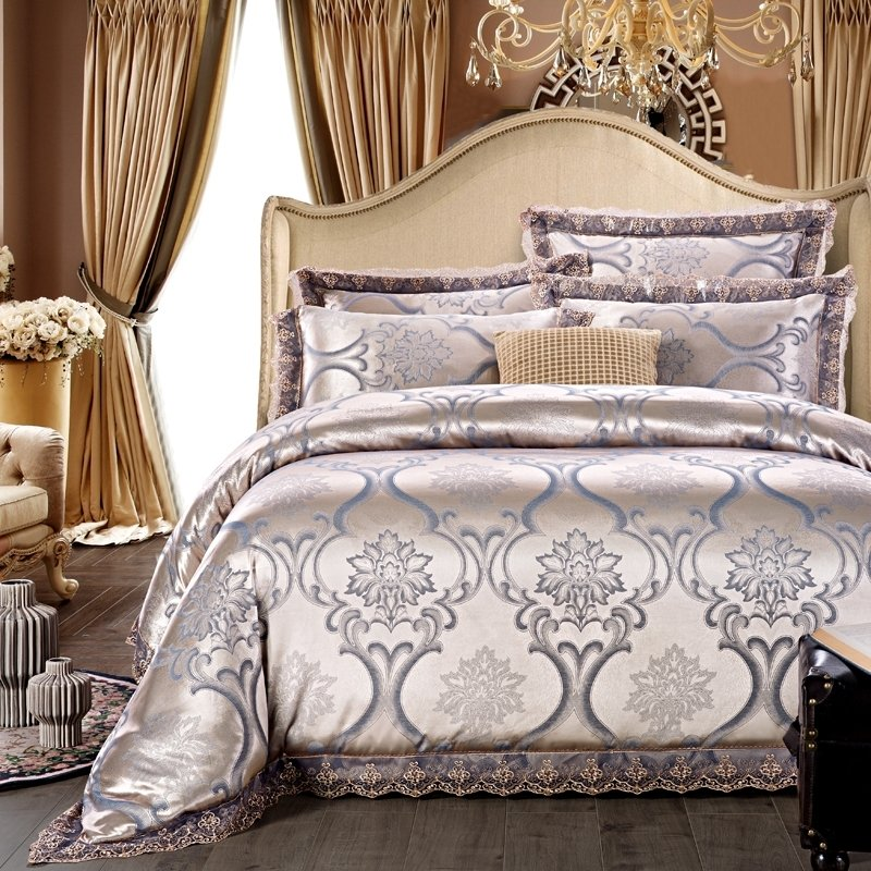Silver And Gray Victorian Gothic Pattern Shabby Chic Western Style Jacquard Satin Full Queen Size Bedding Sets