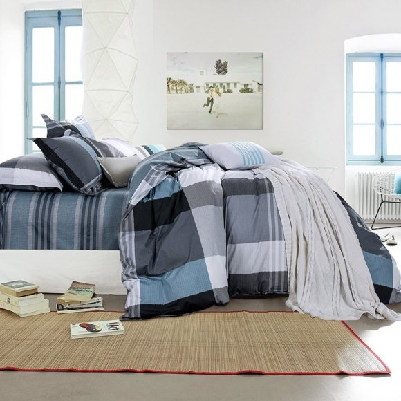 Hipster Dark Gray Silver White And, Slate Blue And Gray Bedding