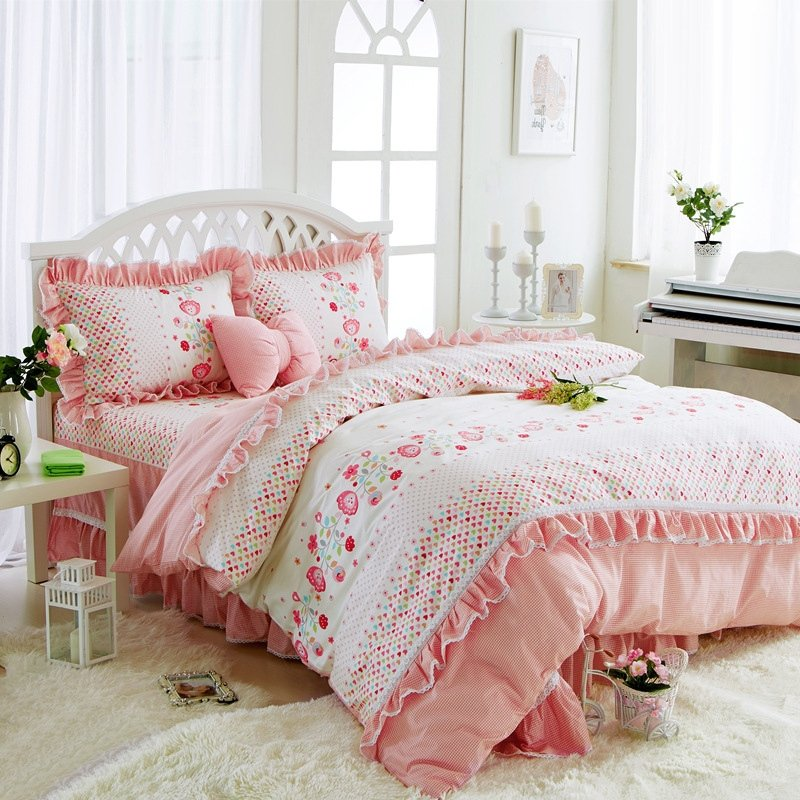 Sophisticated elegant blush pink and white flower print gathered sophisticated elegant blush pink and white flower print gathered ruffle victorian lace girls cotton twin full queen size bedding sets mightylinksfo