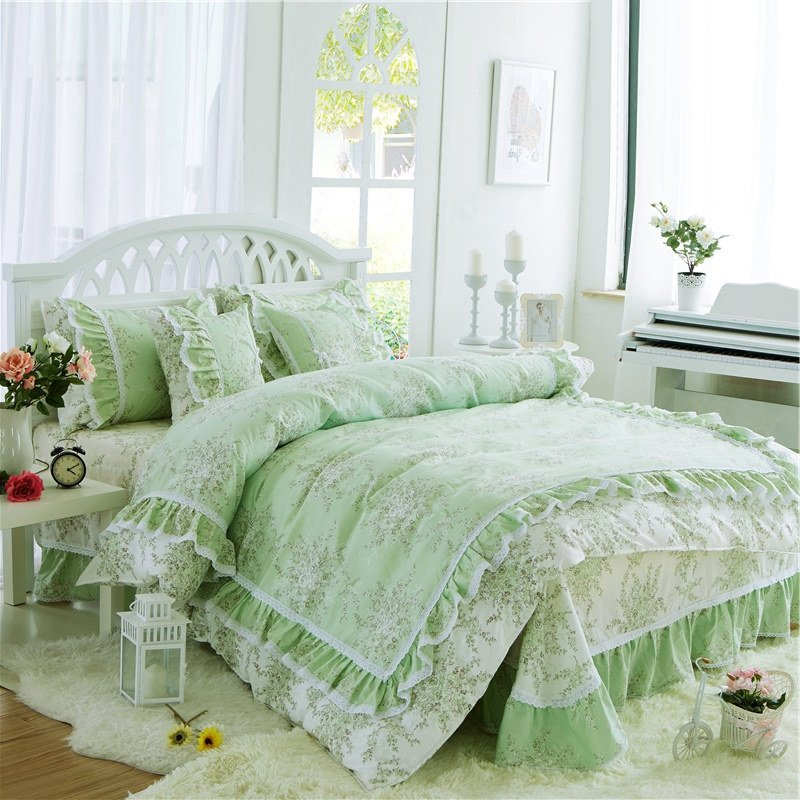 Sophisticated elegant sea green and white flower print victorian sophisticated elegant sea green and white flower print victorian lace gathered ruffle girls cotton twin full queen size bedding sets mightylinksfo