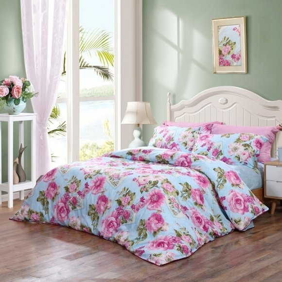 Sky Blue Hot Pink And Green Tropical Hawaiian Flower Print