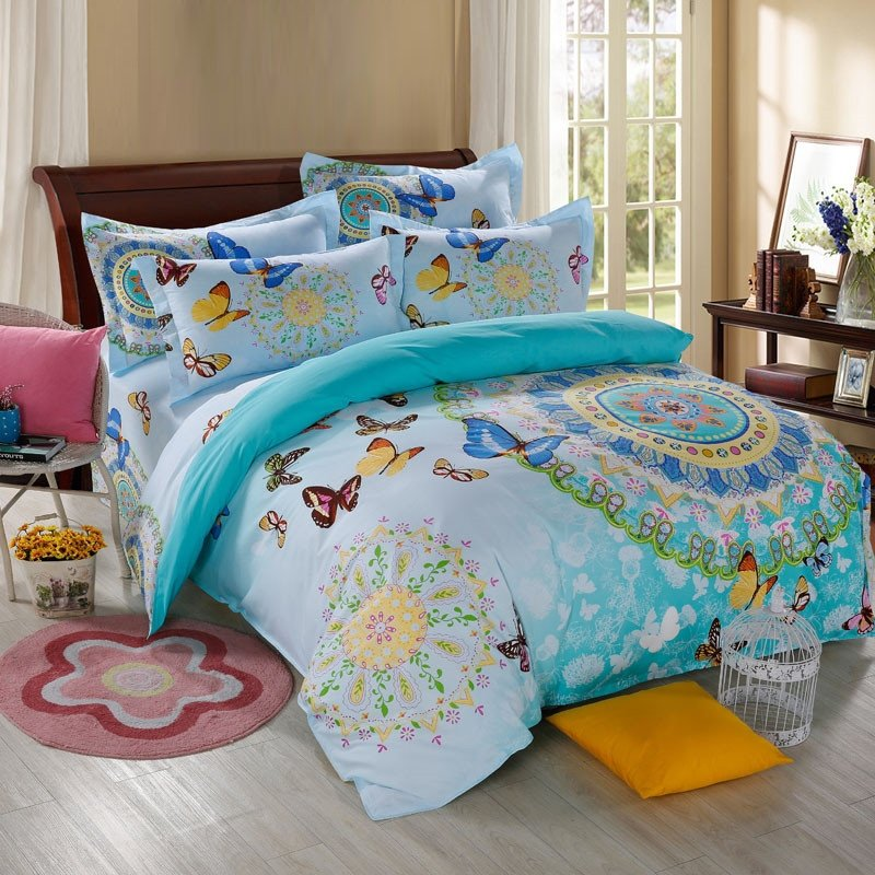 Cot In A Box Morocco Turquoise: Turquoise Yellow White And Blue Bohemian Hippie Style