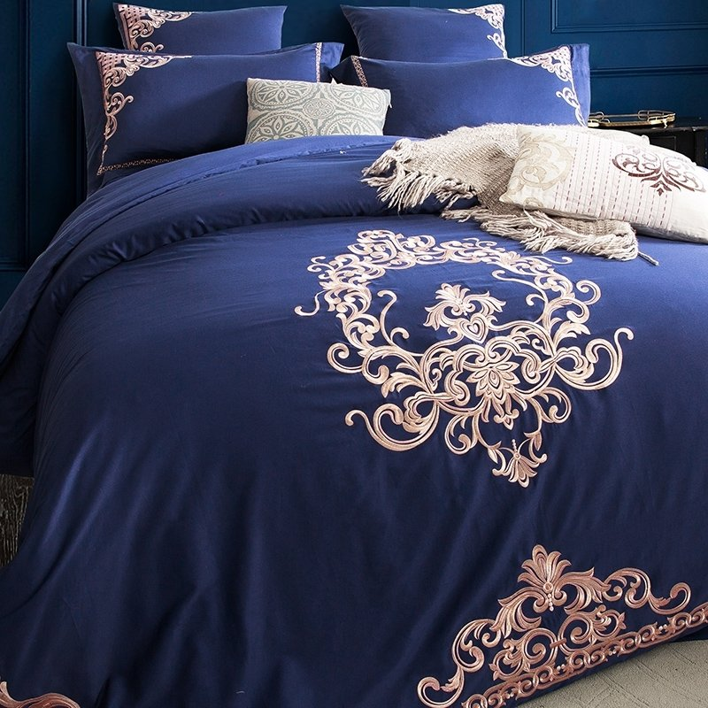 Luxury Royal Blue And Rose Gold Victorian Indian Pattern