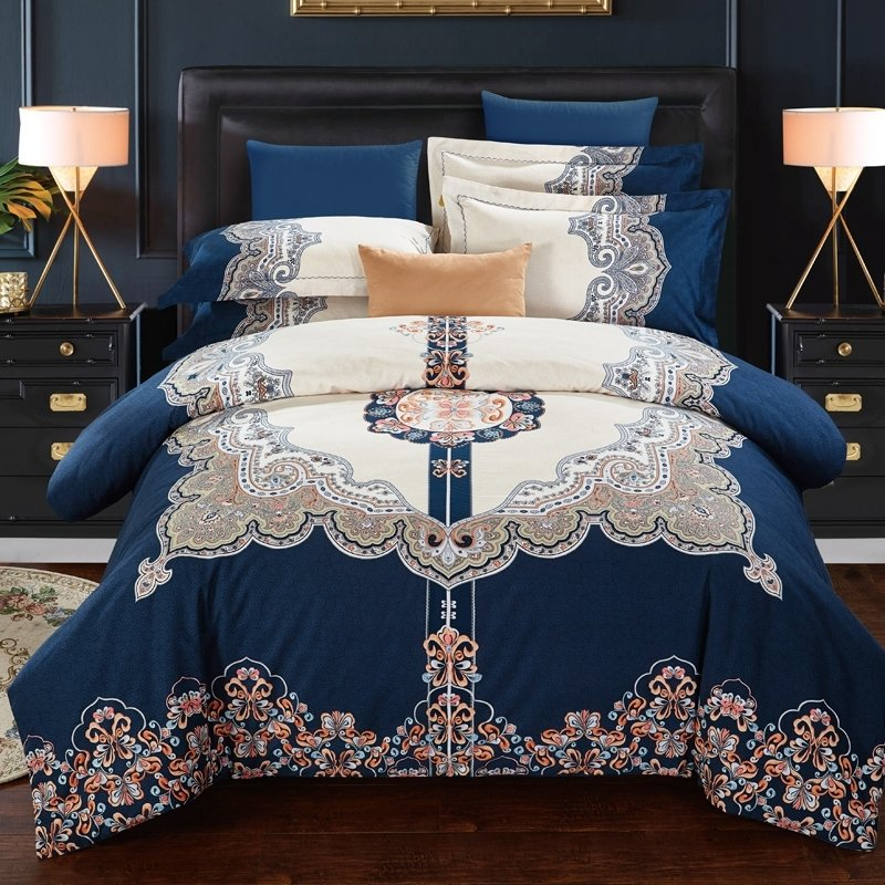 Brushed Cotton Full Queen Size Bedding, Royal Blue And Gold Bedding Sets