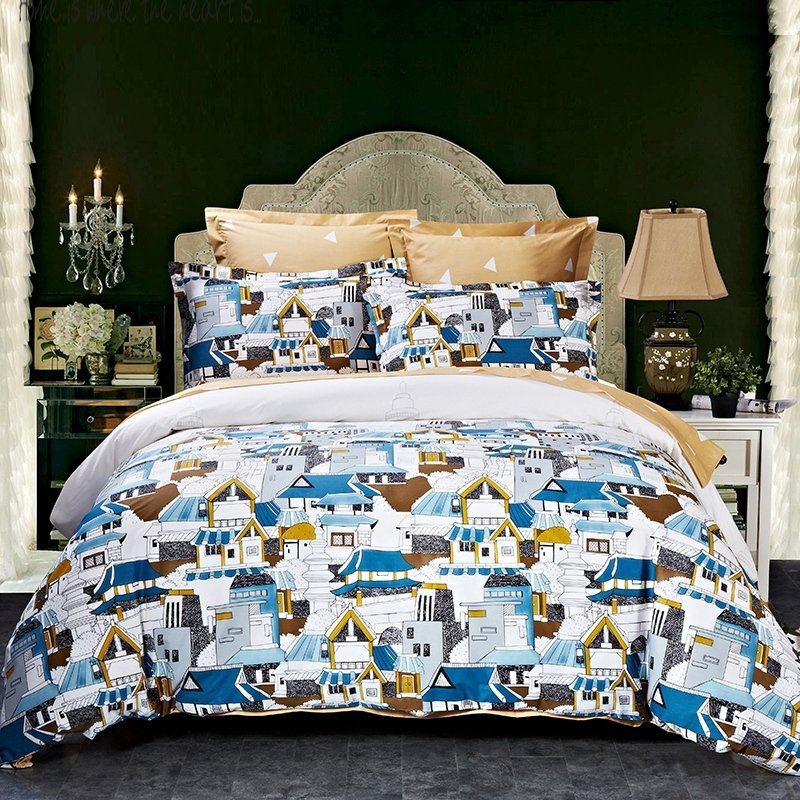 Royal Blue Full Bedroom: Royal Blue Copper Black And White City Chic Stylish