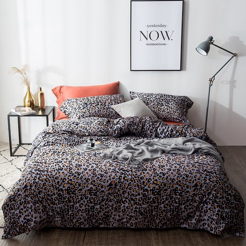 Leopard Print Themed Bedroom: Romantic Sexy Black Orange And Silver Gray Leopard Print