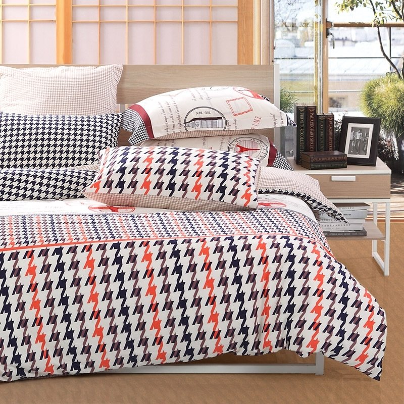 Modern Black White C And Coffee Houndstooth Print Hipster Style Full Queen Size Bedding Sets For S