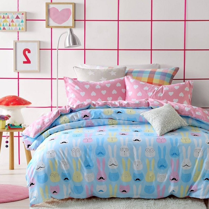 Personalized pastel hot pink black white blue and yellow emoji pattern rabbit and heart print for Pastel pink and yellow bedroom