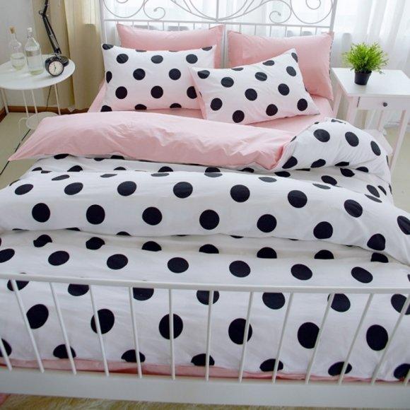 Fashion Black White And Blush Pink Polka Dot Print Elegant