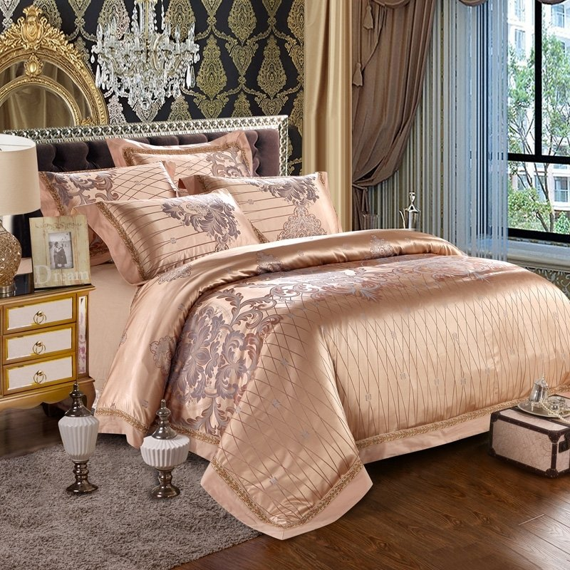champagne gold gray and brown vintage rococo pattern plaid and western floral print luxury. Black Bedroom Furniture Sets. Home Design Ideas