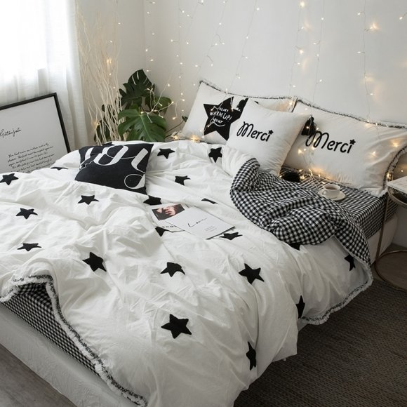 Cotton Black And White Duvet Cover Queen