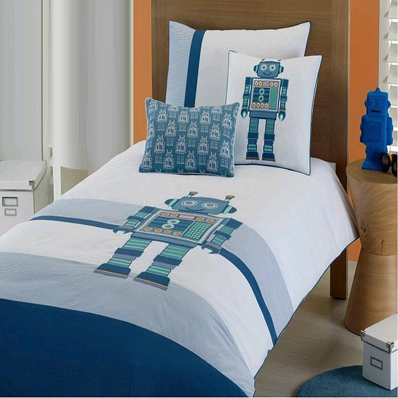 Hipster Teal Blue Green And White Personalized Robot Print