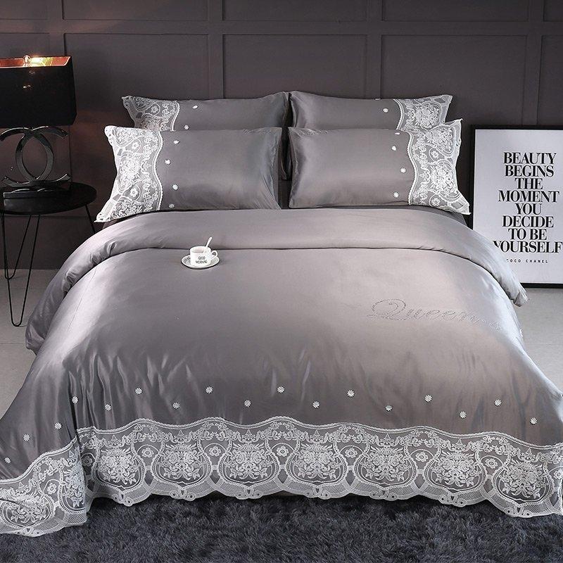Sophisticated Elegant Taupe Gray And, Elegant Slate Grey Bedding