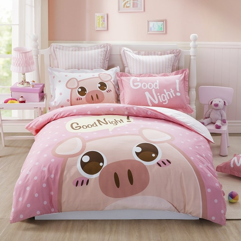 Pink Cream And White Pig Print Cute Style Cartoon Themed