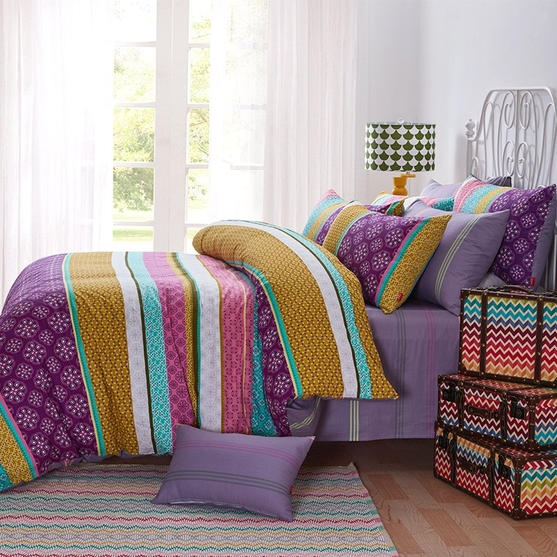 purple turquoise and yellow colorful stripe and bohemian style southwestern full queen size. Black Bedroom Furniture Sets. Home Design Ideas