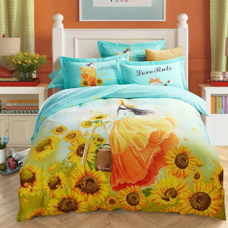 pastel turquoise gold white yellow and green sunflower print country chic garden images girly. Black Bedroom Furniture Sets. Home Design Ideas