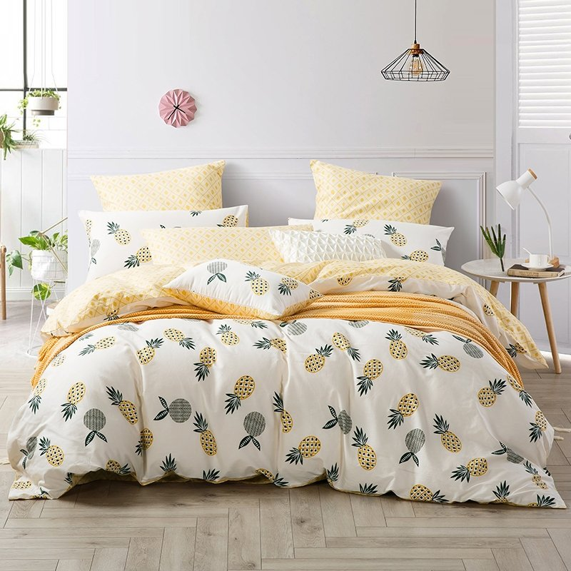 Trendy Yellow Beige And Gray Pineapple, Trendy Bedding Sets