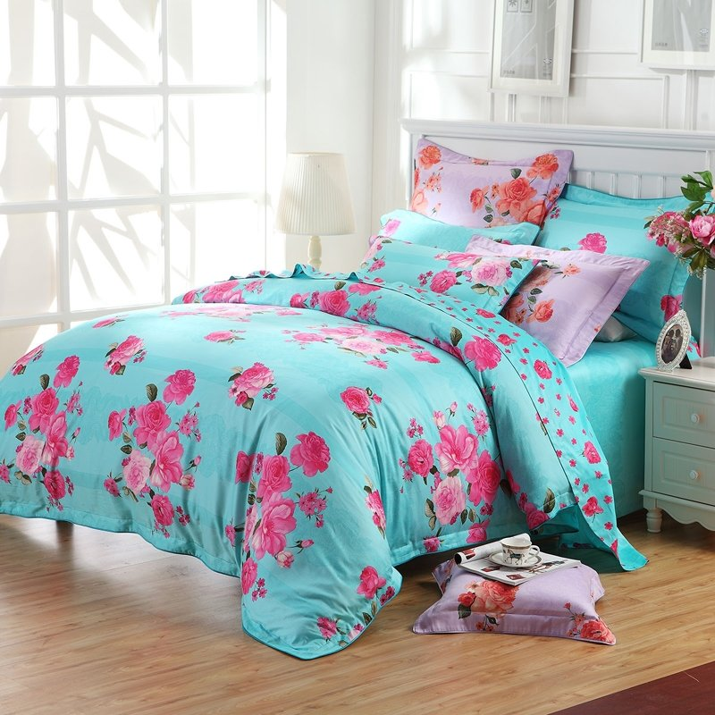 Bright Tiffany Blue and Hot Pink Flower Print Oriental ...